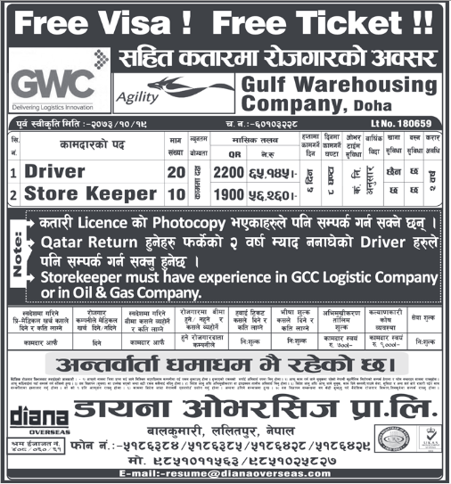 Driver And Store Keeper Job In Kuwait Job Finder In Nepal Nepali