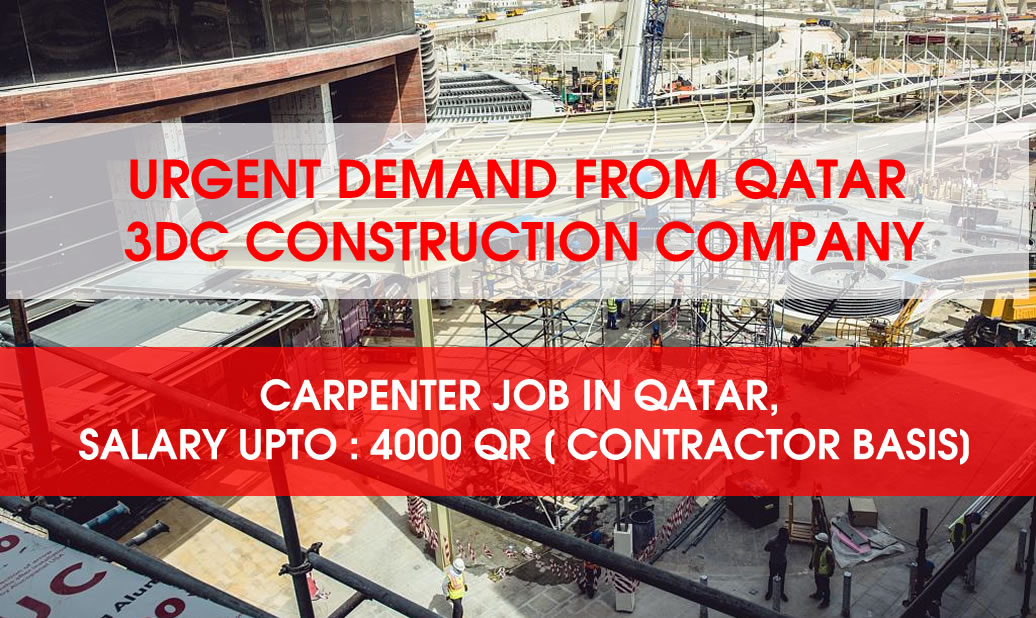 Shorting Carpenter Job Demand in Qatar, Salary upto 4000 QR