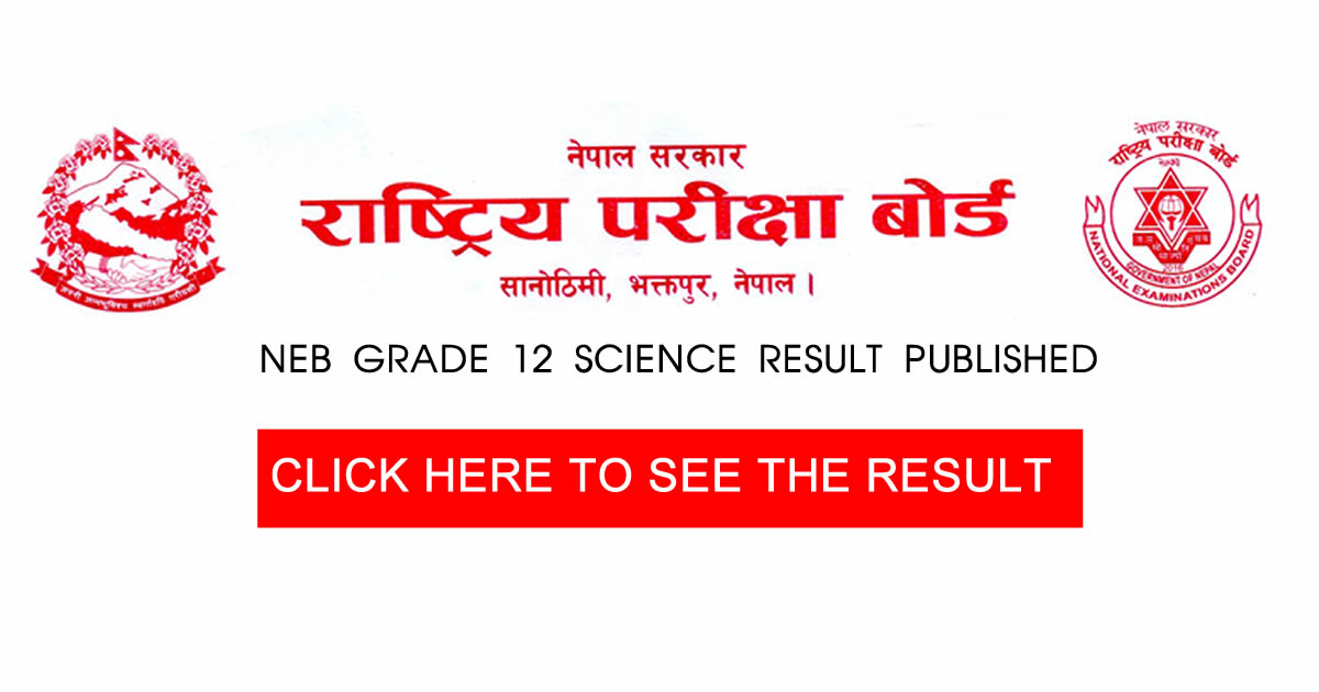 Grade 12 Science Results Published 79 Passed NEB Job