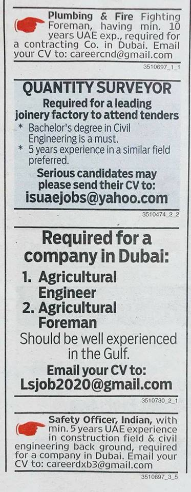 Job vacancies from Gulf News, October 25, 2017 – Job Finder in Nepal