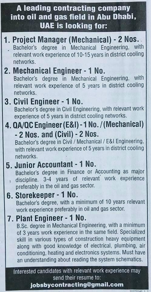 Job Vacancy From Gulf News October 23 2017 – Job Finder in