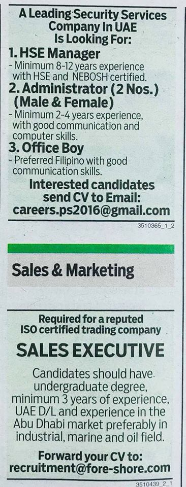 Job vacancies from Gulf News, October 25, 2017 – Job Finder in Nepal
