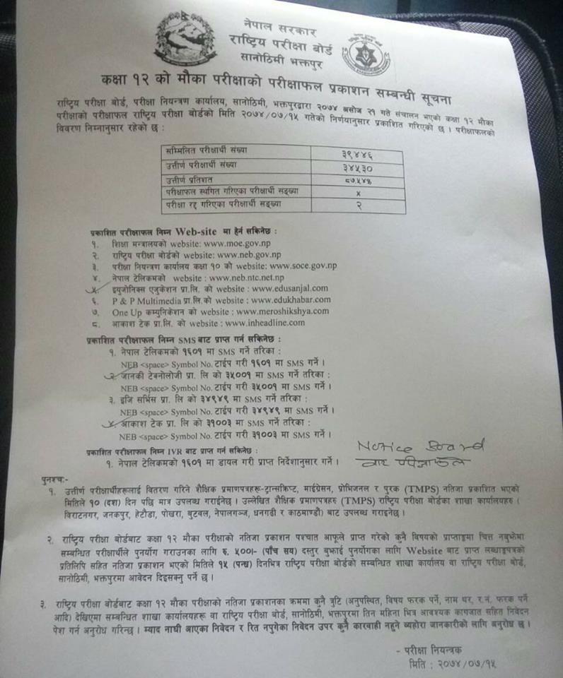 Result Of Supplementary Exam Of Grade 12 Chance Exam