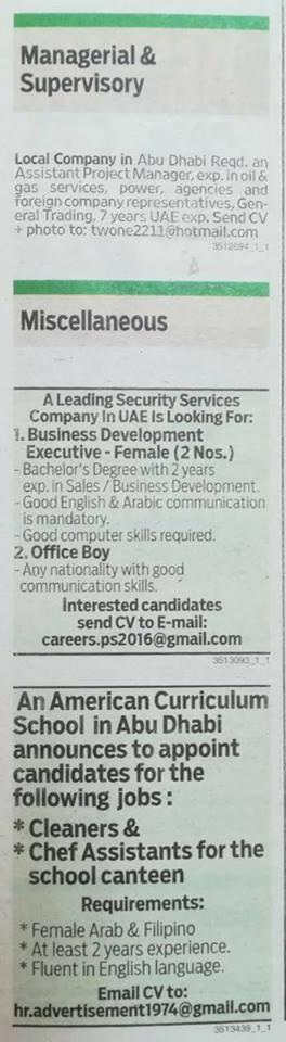 Job vacancies Published in Gulf News 23 November 2017 – Job
