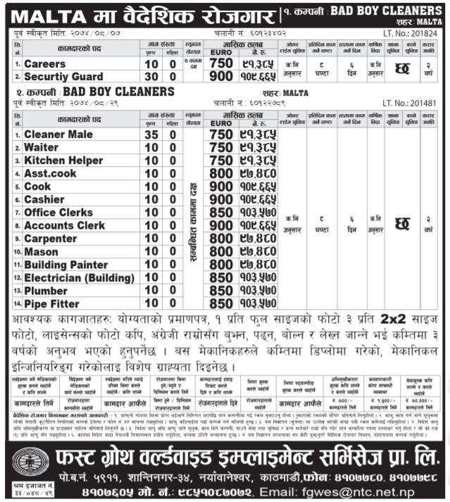 Europe Job Vacancy From Malta – Job Finder in Nepal, Nepali Job