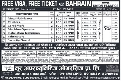 Bahrain Jobs Demand, Security Guard, Carpenter and Others
