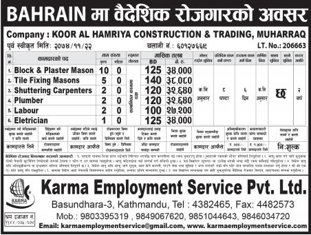 Job Demand From Bahrain, Job Vacancy In Koor Al Hamriya