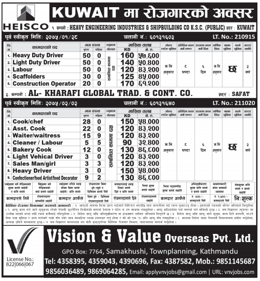 Kuwait High Paying Jobs, Jobs in HEISCO company – Job Finder