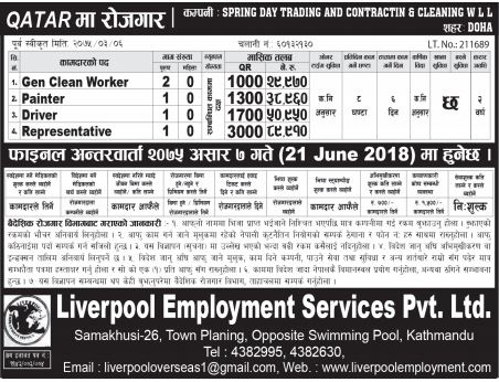 Job Vacancy In Spring Day Trading and Contraction & Cleaning