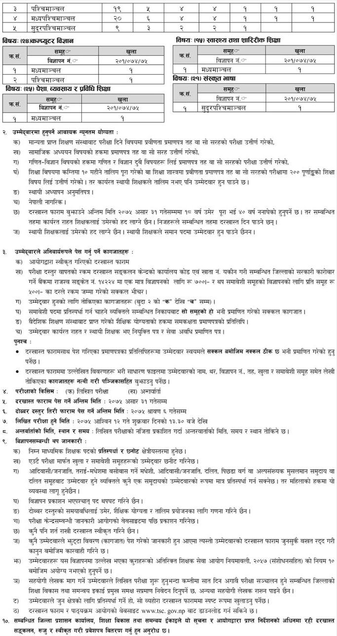Teachers Lower Secondary Level Jobs In Nepal Government