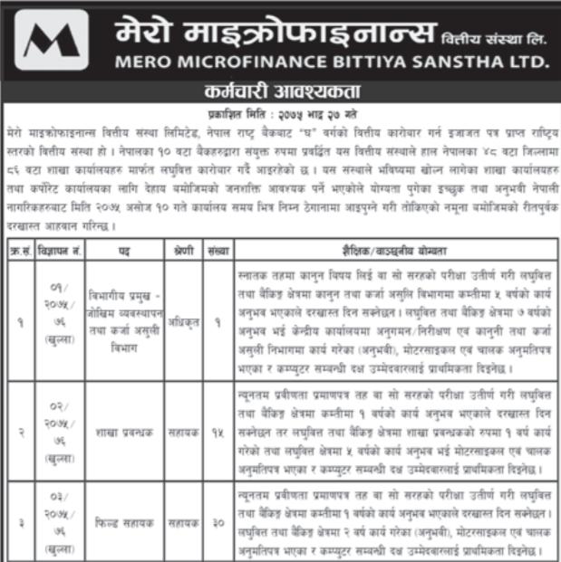 Mero Microfinance Job Vacancy
