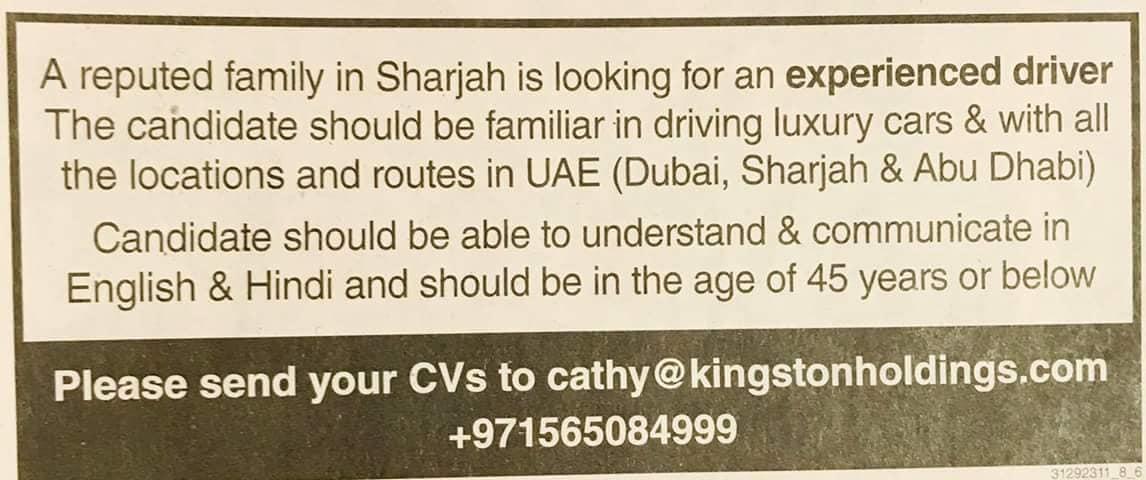 Driver Job in Sharjah UAE – Job Finder in Nepal, Nepali Job