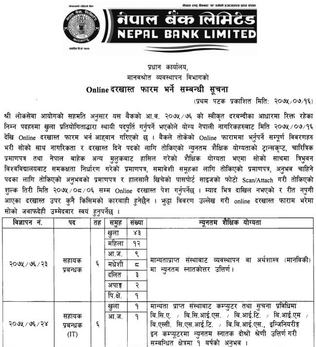 Nepal Bank Limited Job Vacancy, 10+2 Pass Can Apply – Job