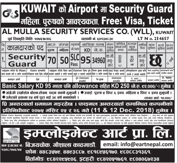 Kuwait Airport Job, Security Guard Job in Kuwait – Job
