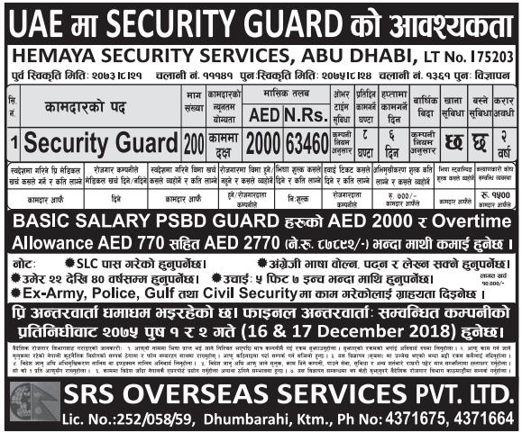 Job Vacancy For Security Guard,Job Demand From UAE,Job Vacancy In